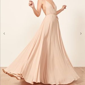 Reformation CALLALILLY GOWN NWT CHAMPAGNE AND NUDE